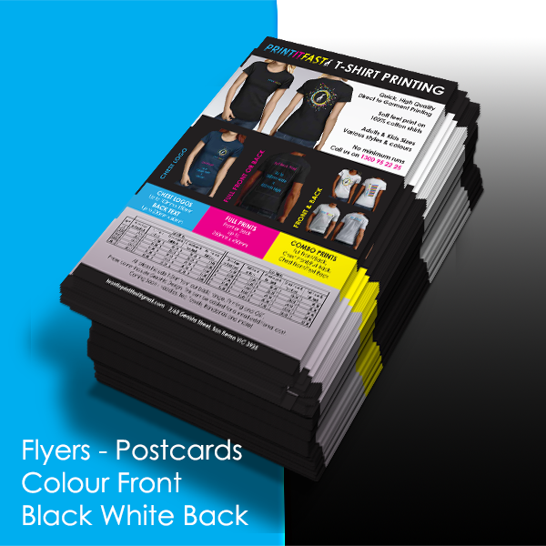 Flyers - Postcards - Colour Front - Black & White Back