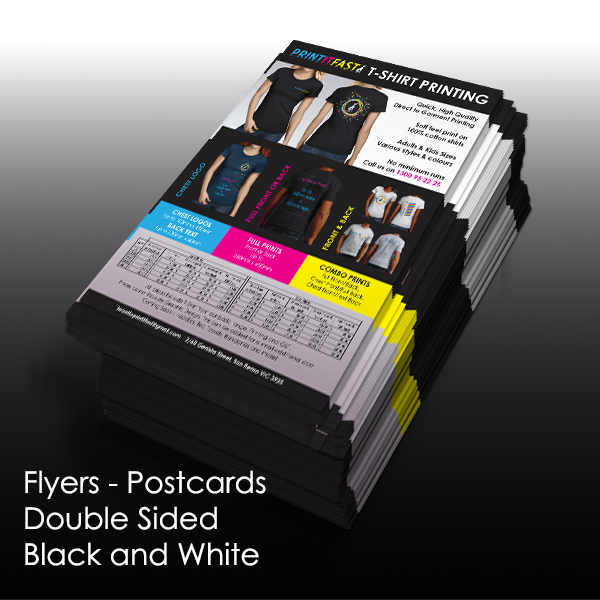 Flyers - Postcards - Double Sided Black & White