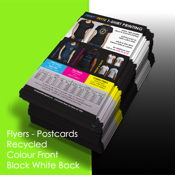 Flyers - Postcards - Recycled- Colour Front - Black & White Back