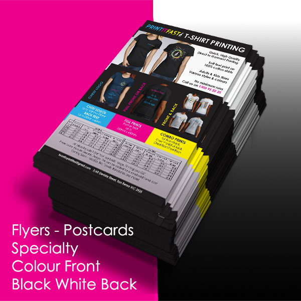 Flyers - Postcards - Specialty - Colour Front - Black & White Back