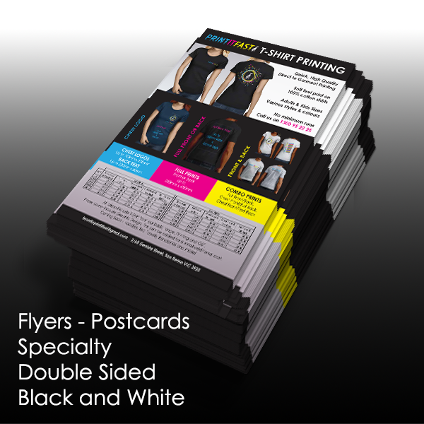 Flyers - Postcards - Specialty - Double Sided Black & White